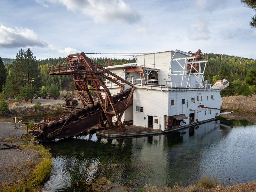 A view of the restored Sumpter Valley Dredge.