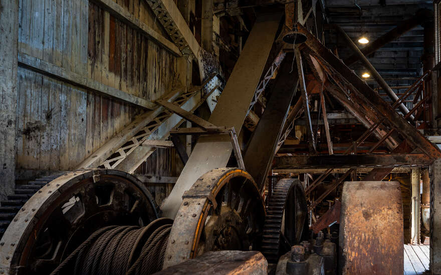 Machinery inside the Sumpter Valley Dredge.