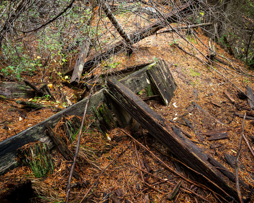 The remaining traces of a mining building lost to time.