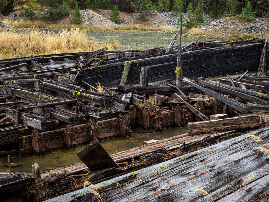 A view inside the abandoned dredge.