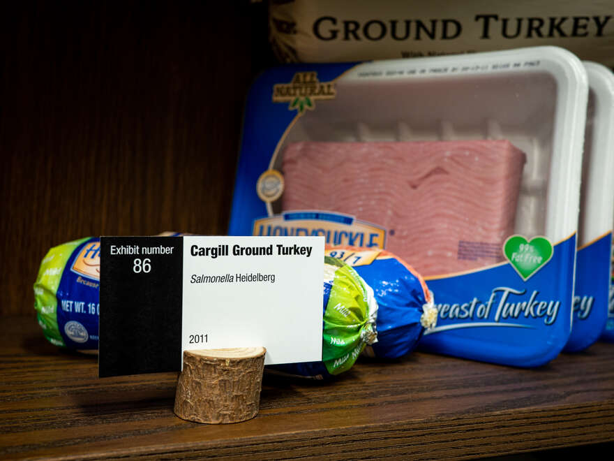 An exhibit of ground turkey infected with Salmonella Heidelberg.
