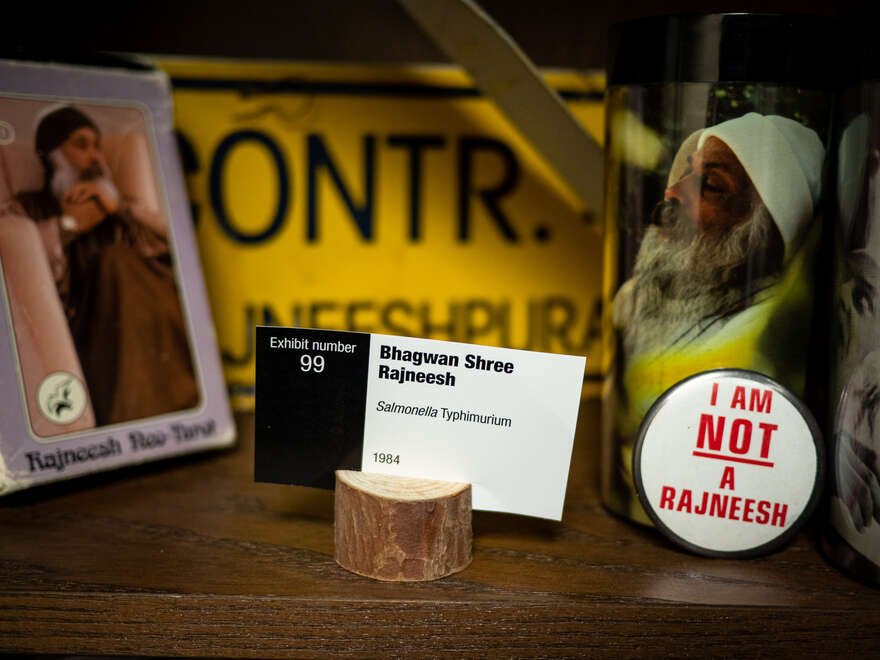 An exhibit from the 1984 Rajneeshee bioterrorism attack in The Dalles, Oregon.