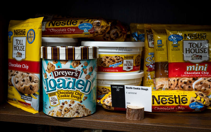 A display of cookie dough products linked to an E. coli 0157:H7 outbreak.