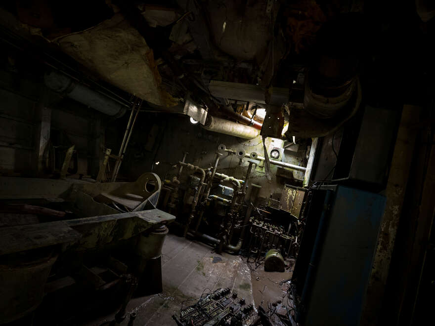 Inside the USS Plainview's partially submerged engine room.